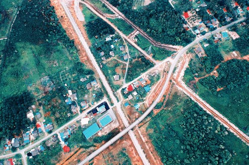 Aerial Photo of Houses and Roads
