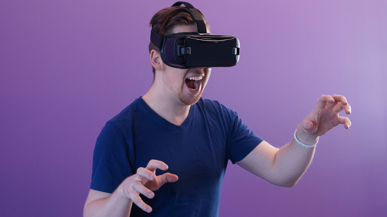 Man Wearing Black Virtual Reality Goggles