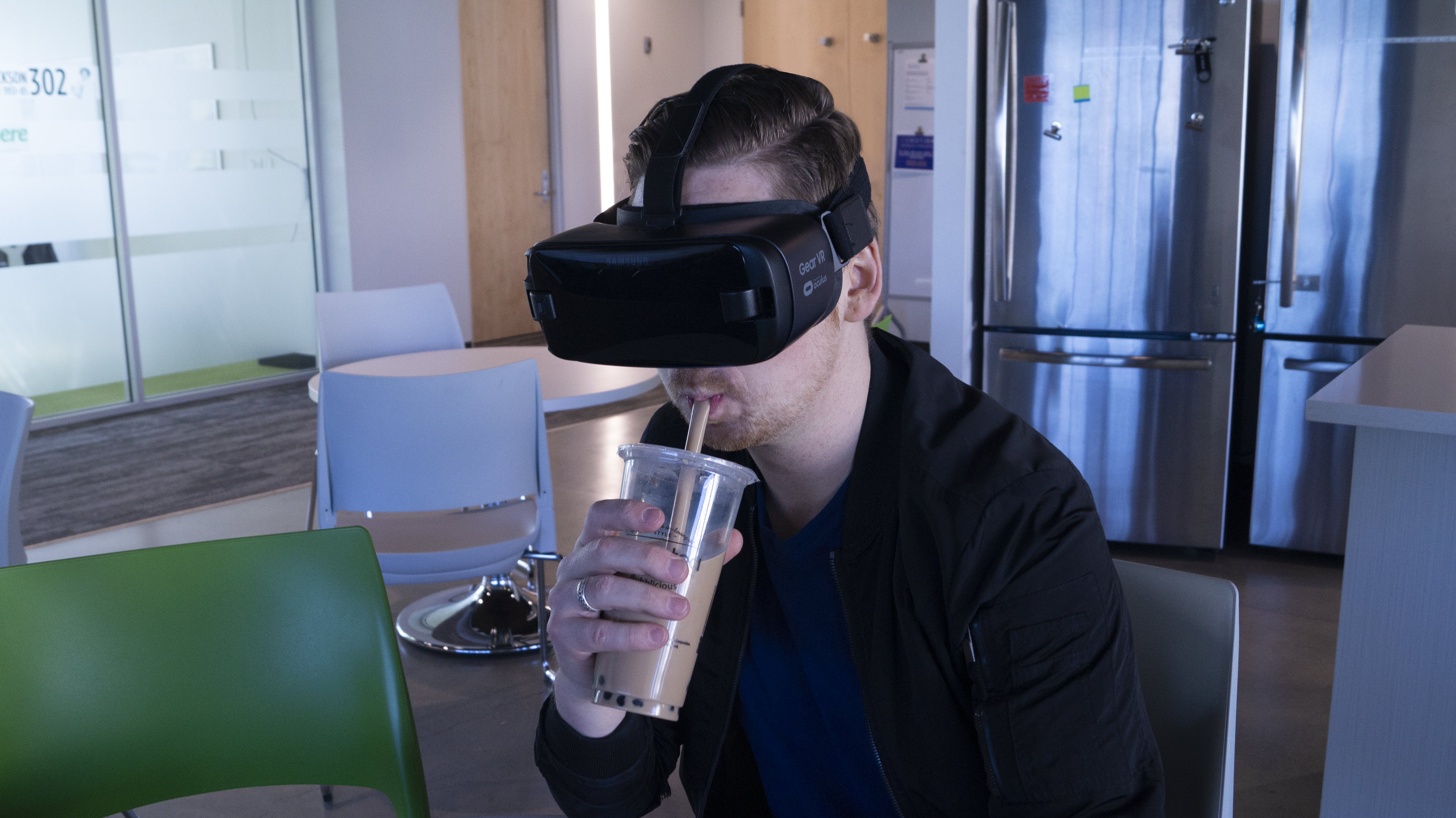 Free stock photo of man, straw, cold drink, virtual reality