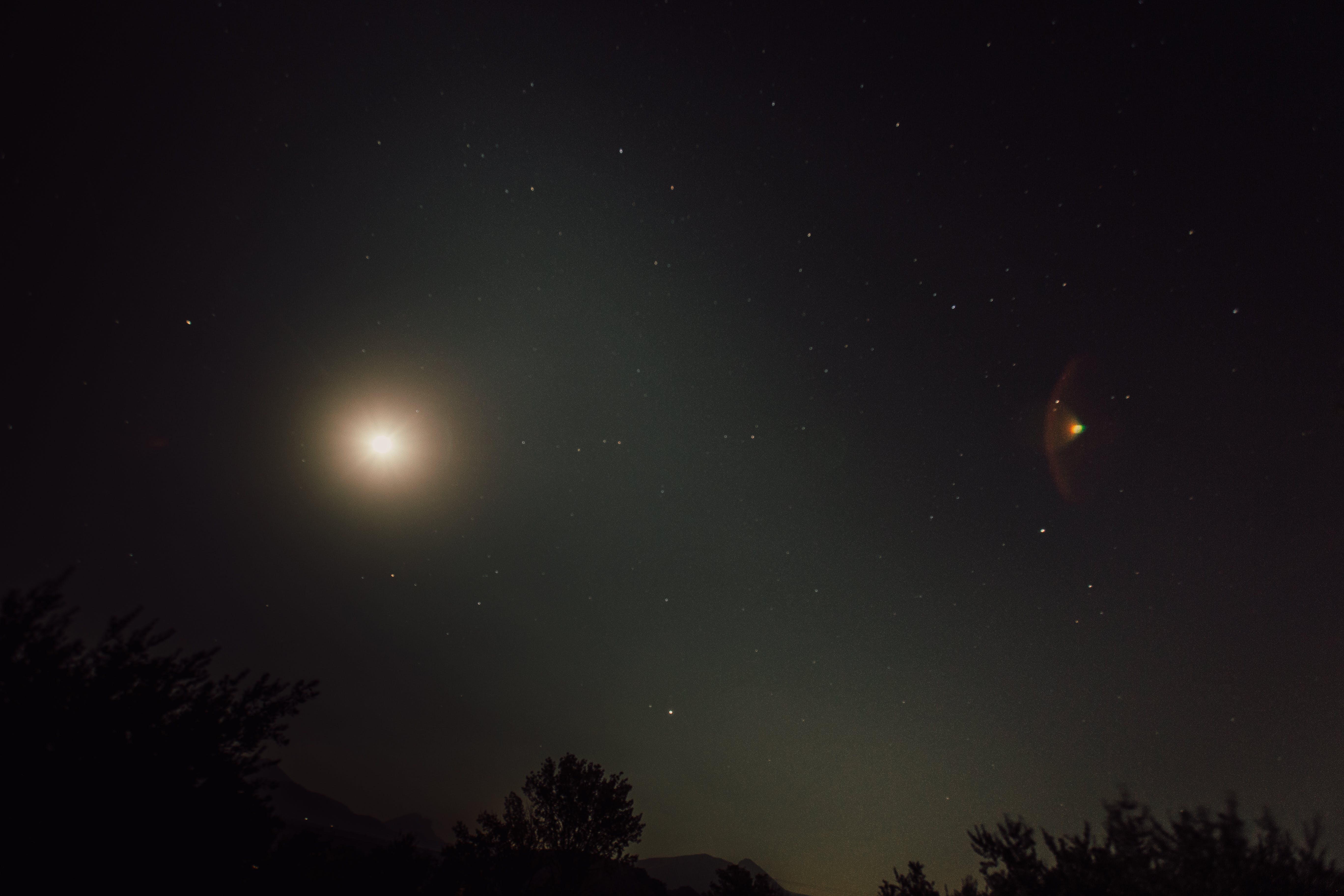 Free stock photo of lens flare, galaxy, stars, full moon