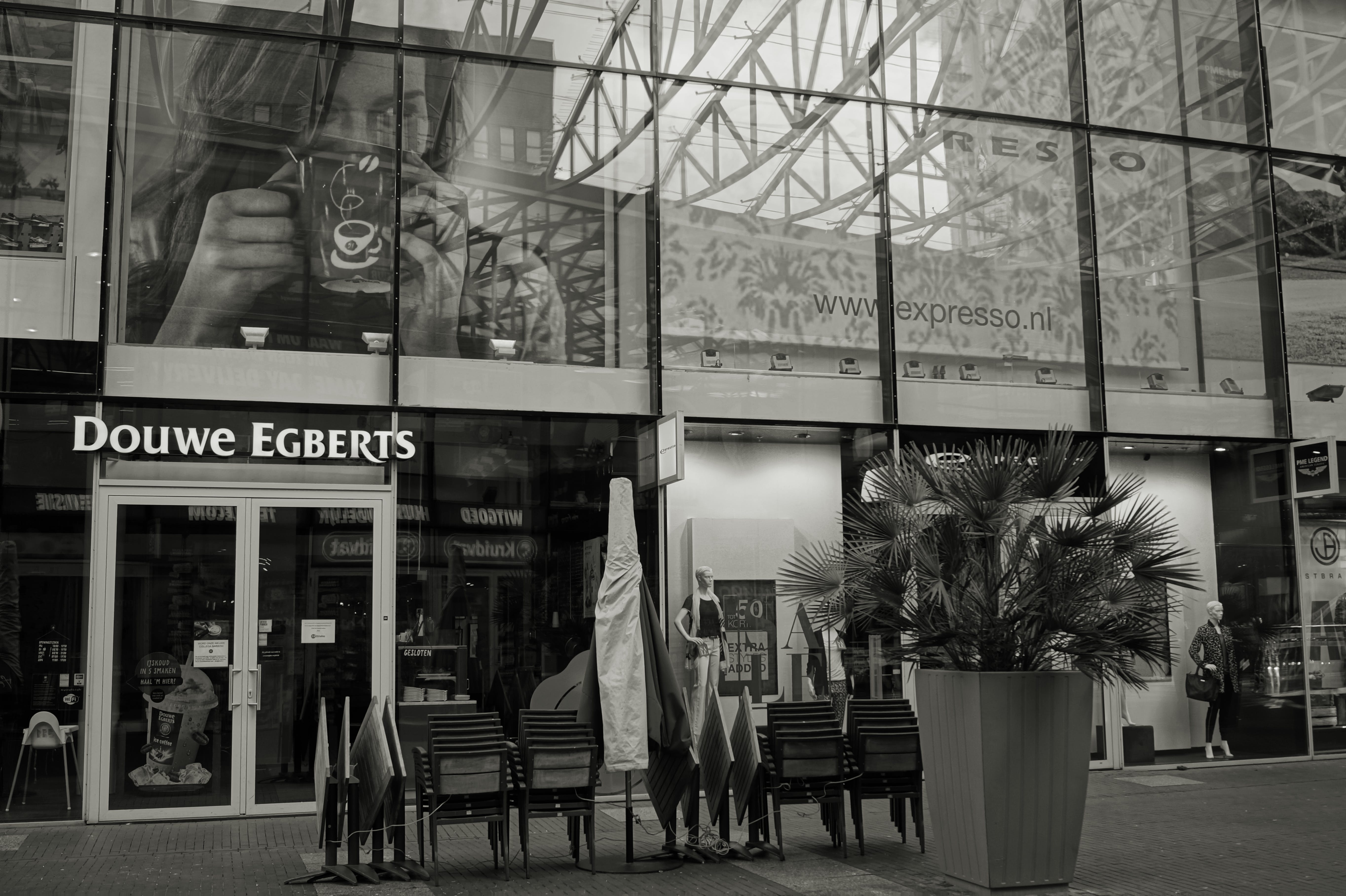 Grayscale Photography of Douwe Egbert's Restaurant