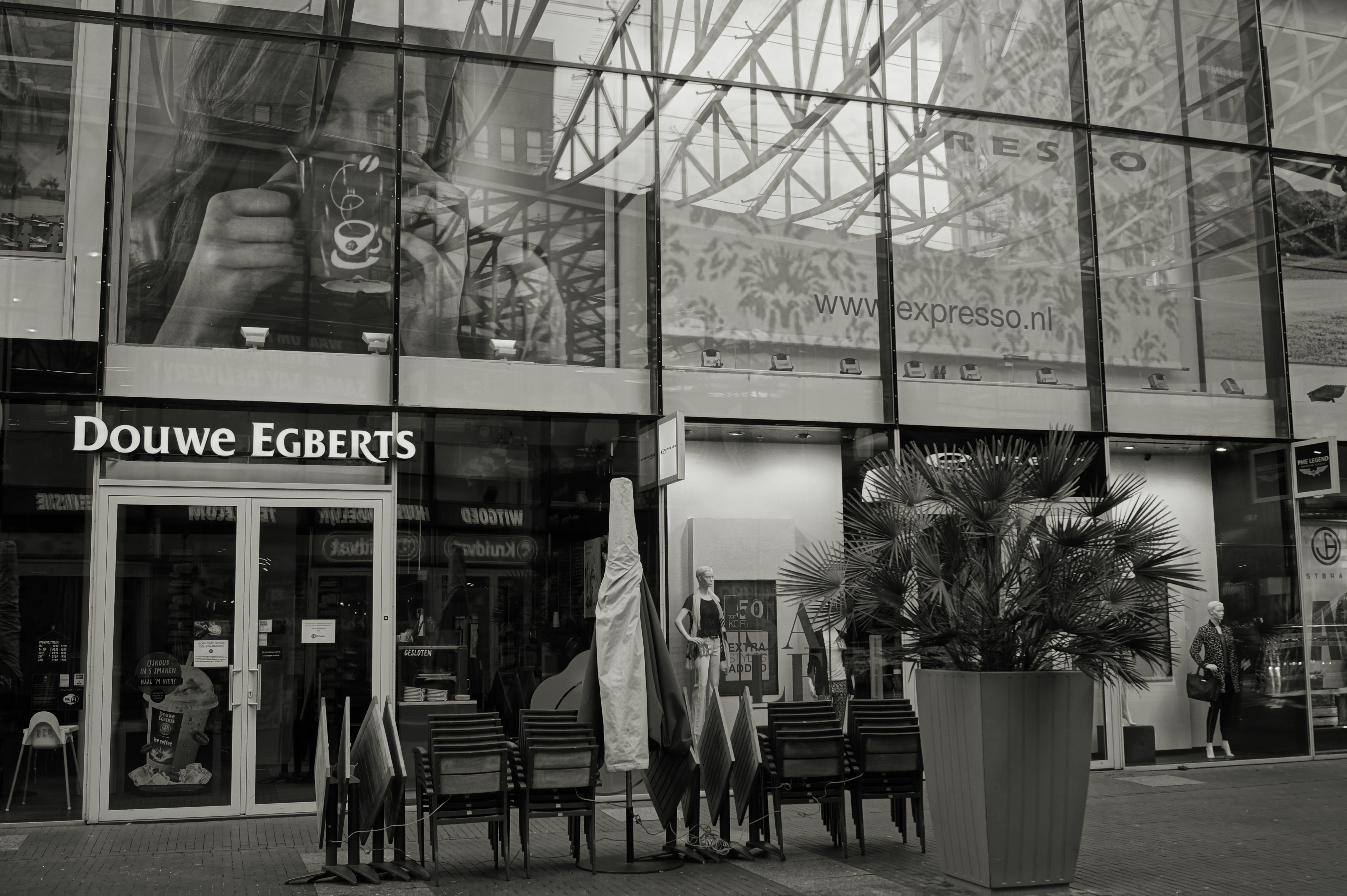 Grayscale Photography of Douwe Egbert's Restaurant