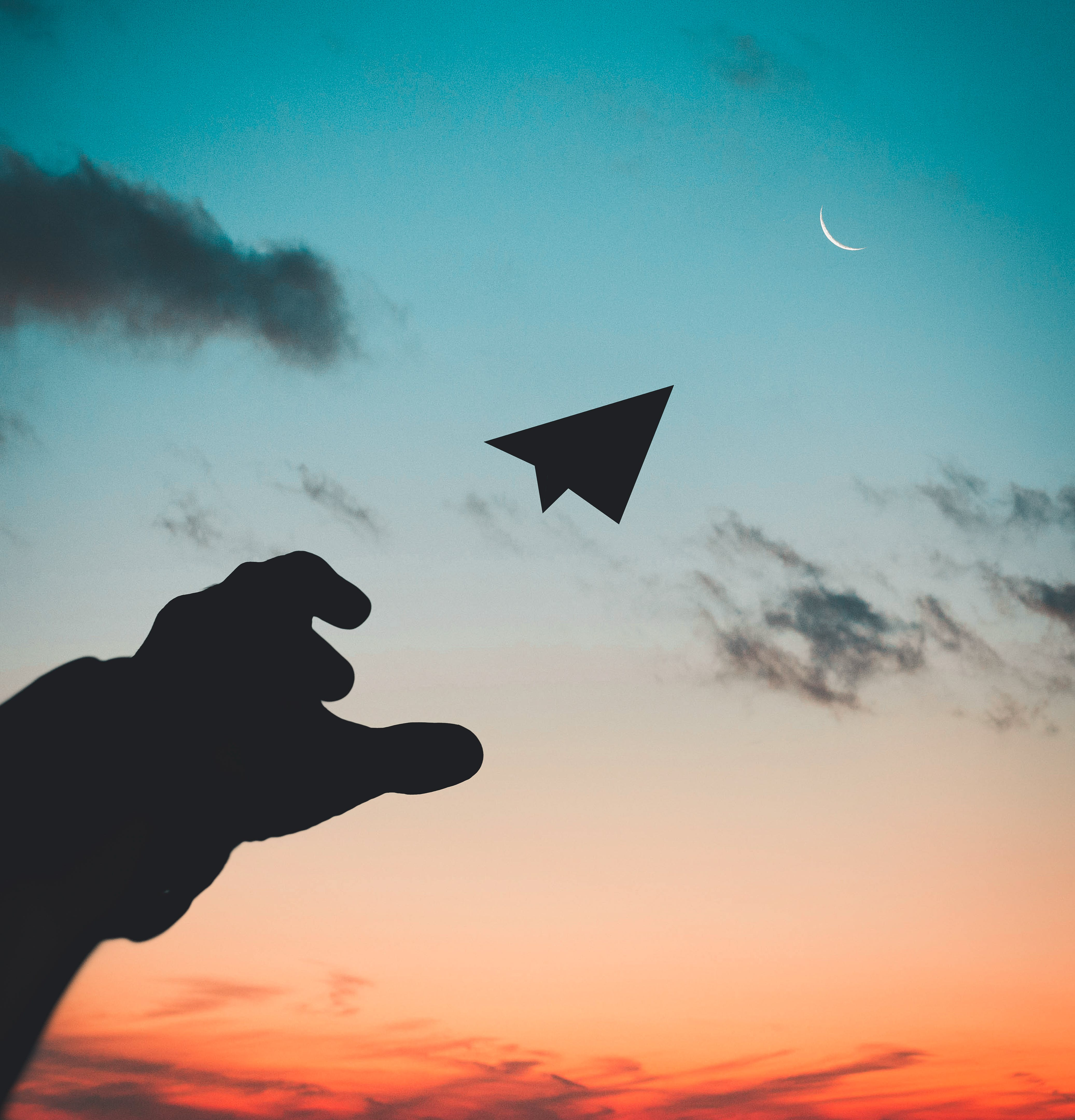 Silhouette Photo of Man Throw Paper Plane