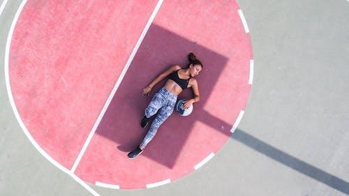공, 그림자, 농구 코트, 드론의 무료 스톡 사진