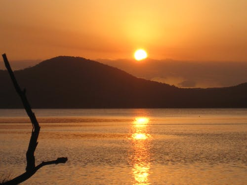 Fotos de stock gratuitas de aguas calmadas, puesta de sol, sol dorado