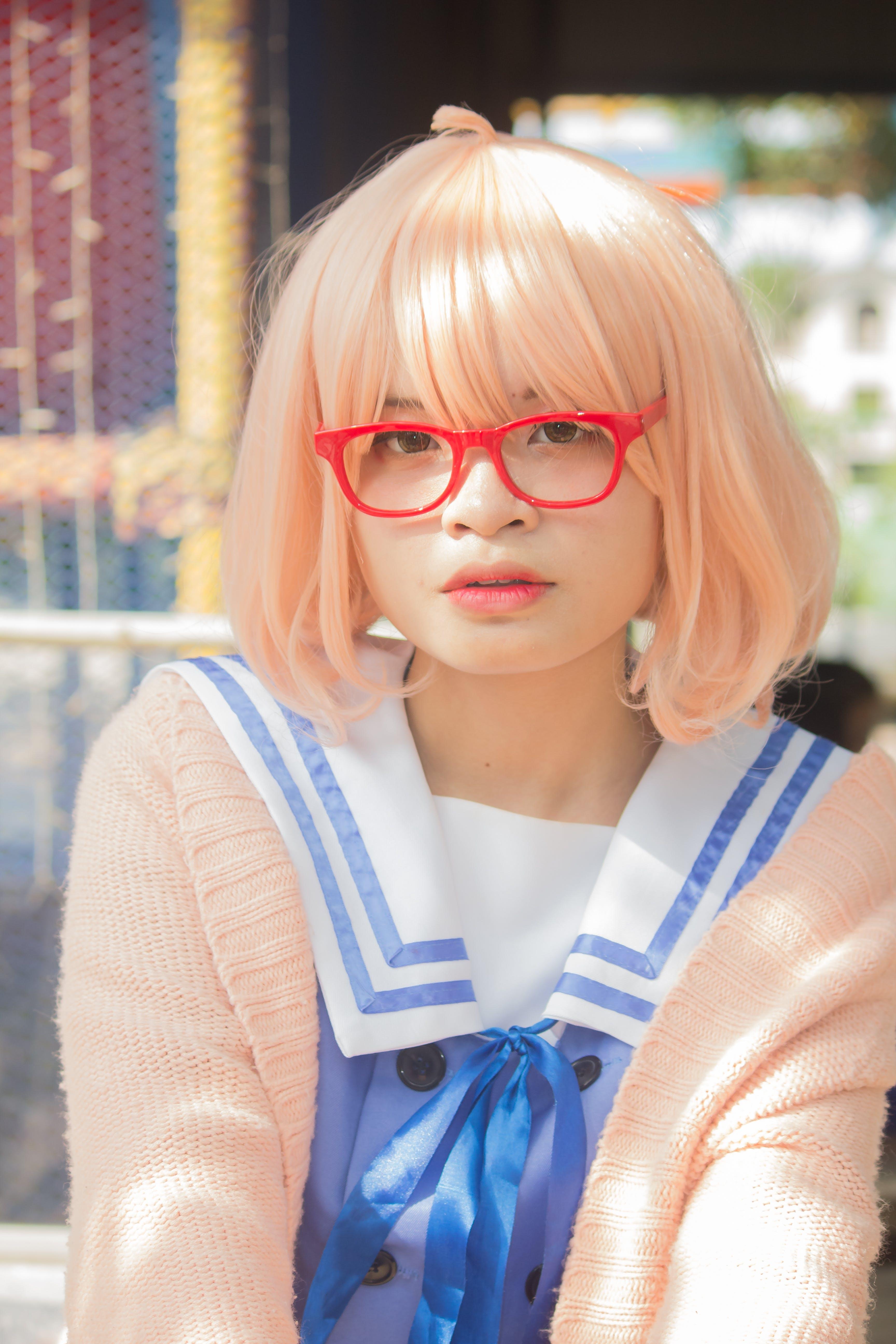 Woman Wearing Red Framed Eyeglasses