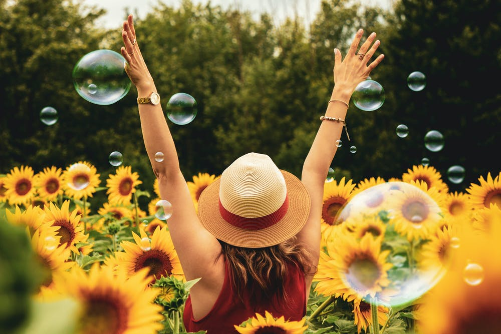 Woman surrounded by sunflowers.   Photo: Pexels