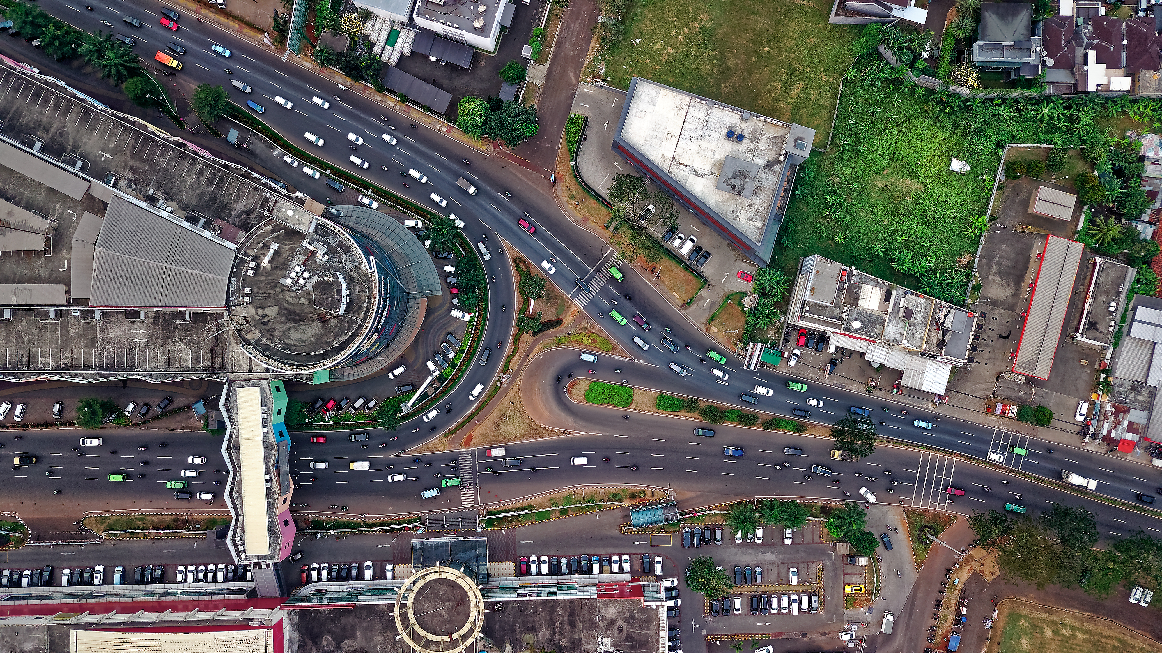 Aerial View of Road With Cars