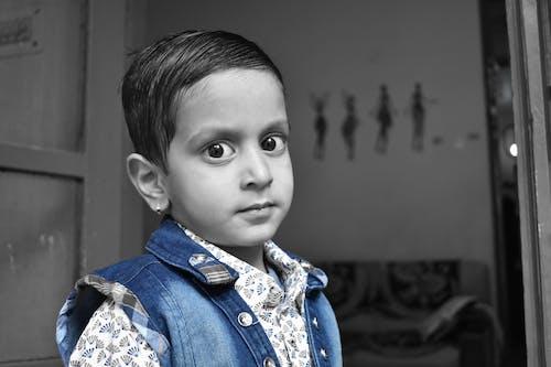 Free stock photo of blue, cute boy in blue jacket, cute eyes