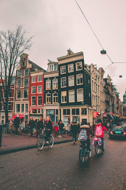 Základová fotografie zdarma na téma Amsterdam, androx, holky, jízdní kolo
