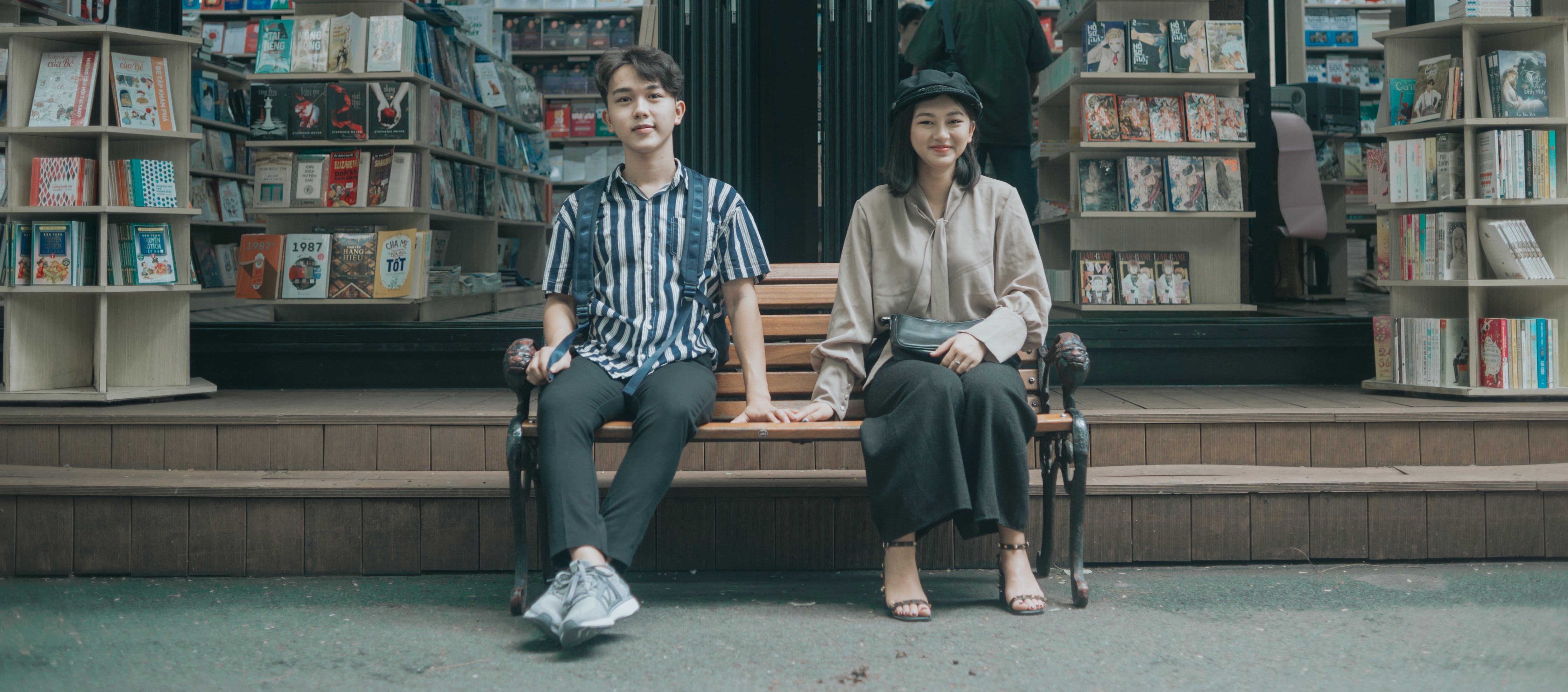 Free stock photo of couple, art, girl, book