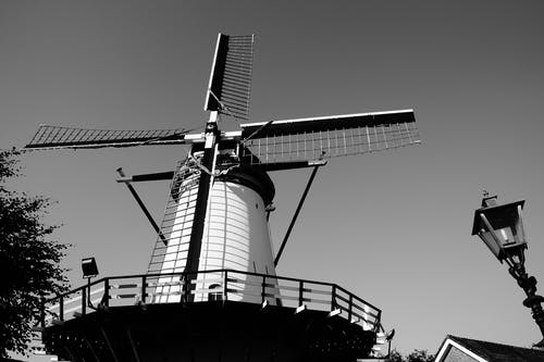 Windmill Grayscale Photo Graphy