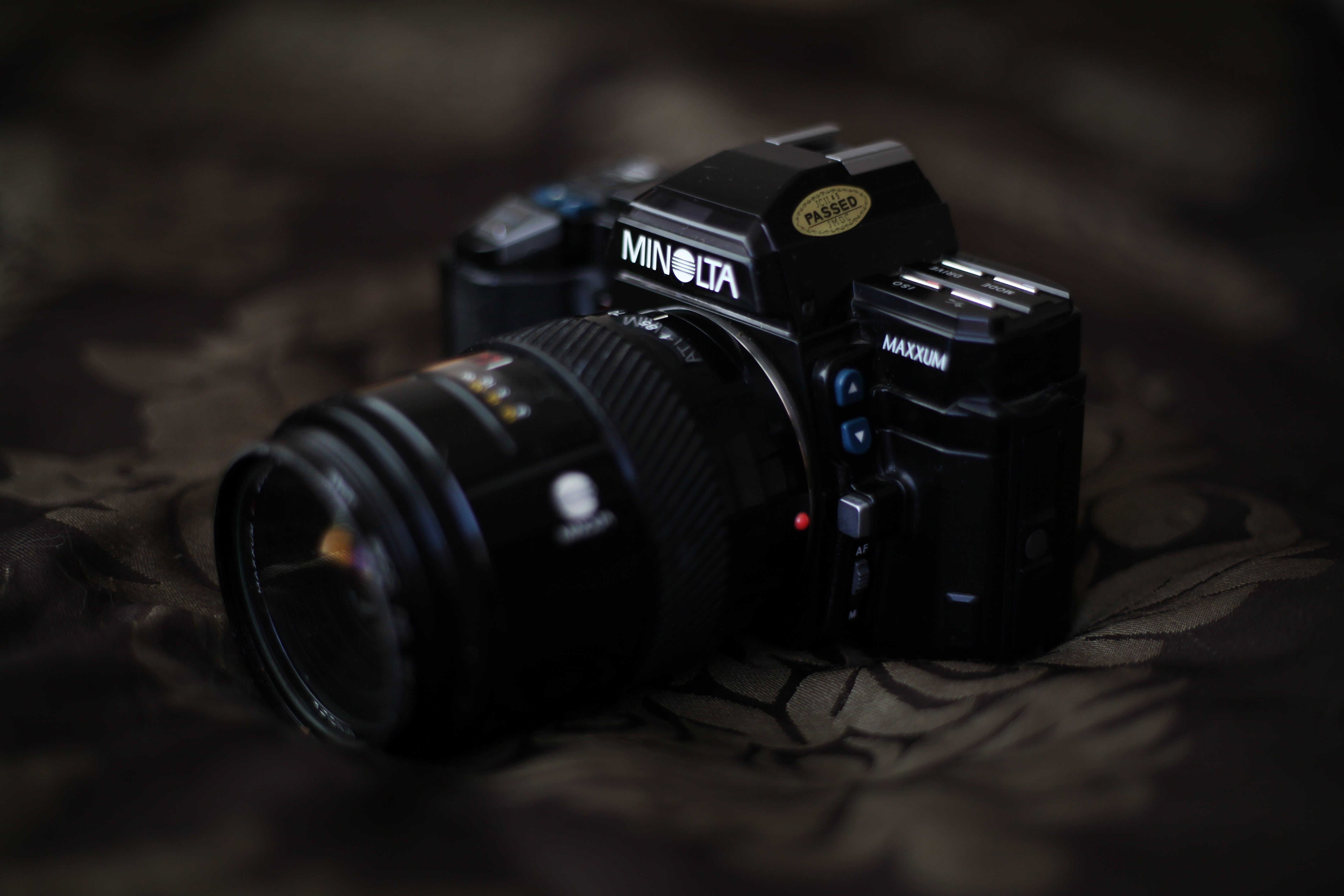 Selective Focus Photo of Black Minolta SLR Camera