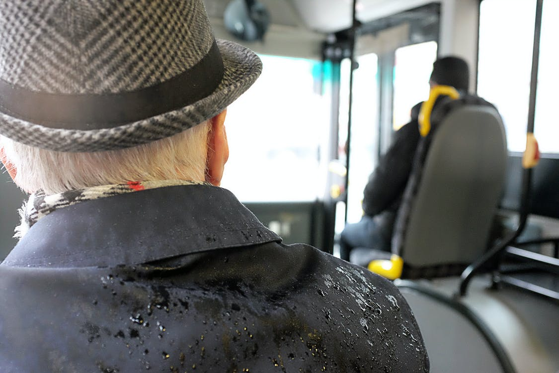 fordon, gammal man, hatt