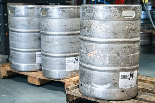 Three Beer Kegs on Pallets