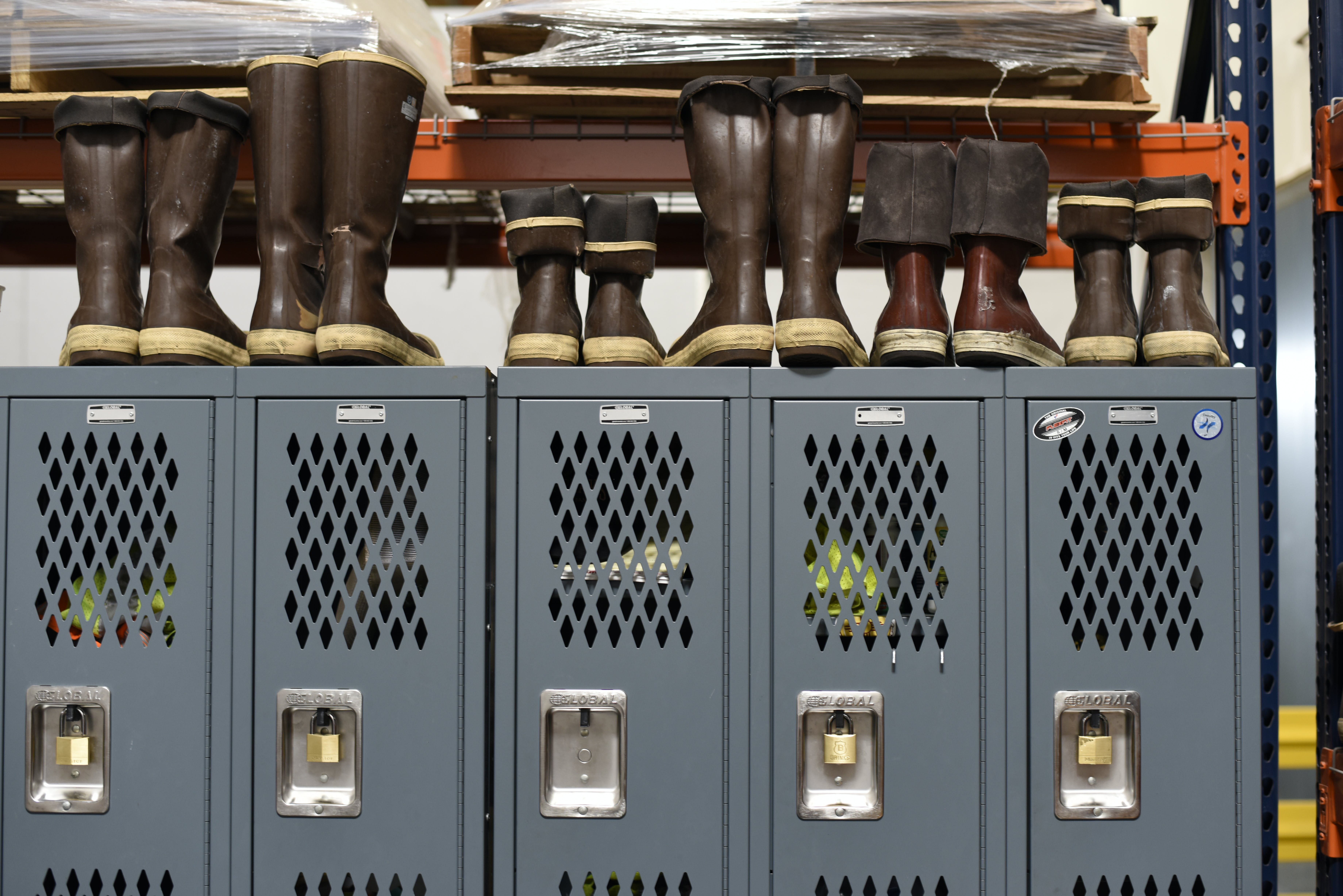 Gray Locker Cabinet and Boots