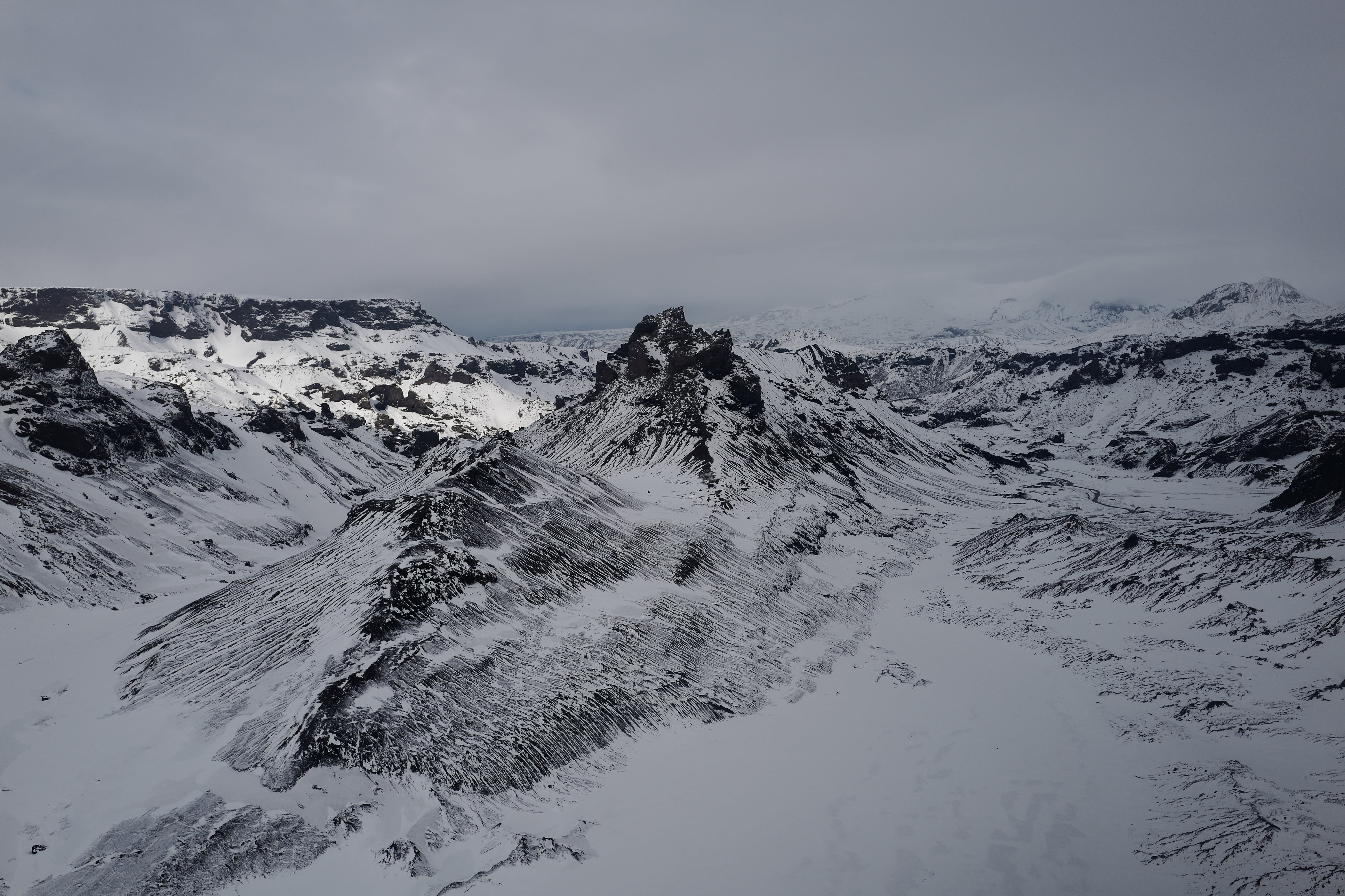 Bird's Eye View Of Snow Capped Mountains