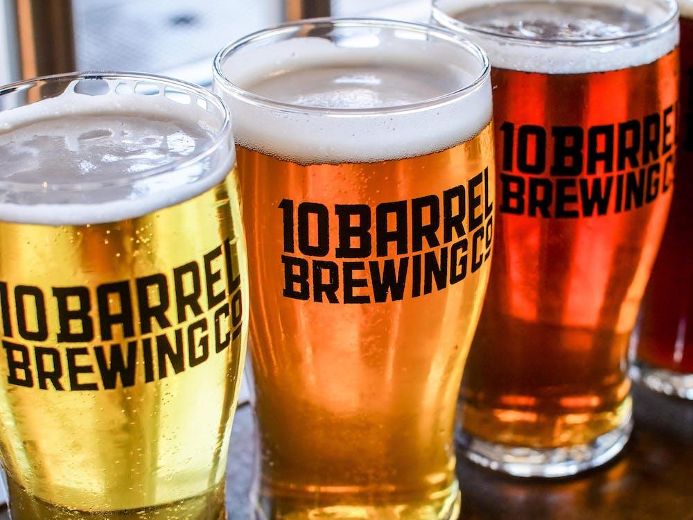 Three 10 Barrel Brewing Glasses Full of Beer