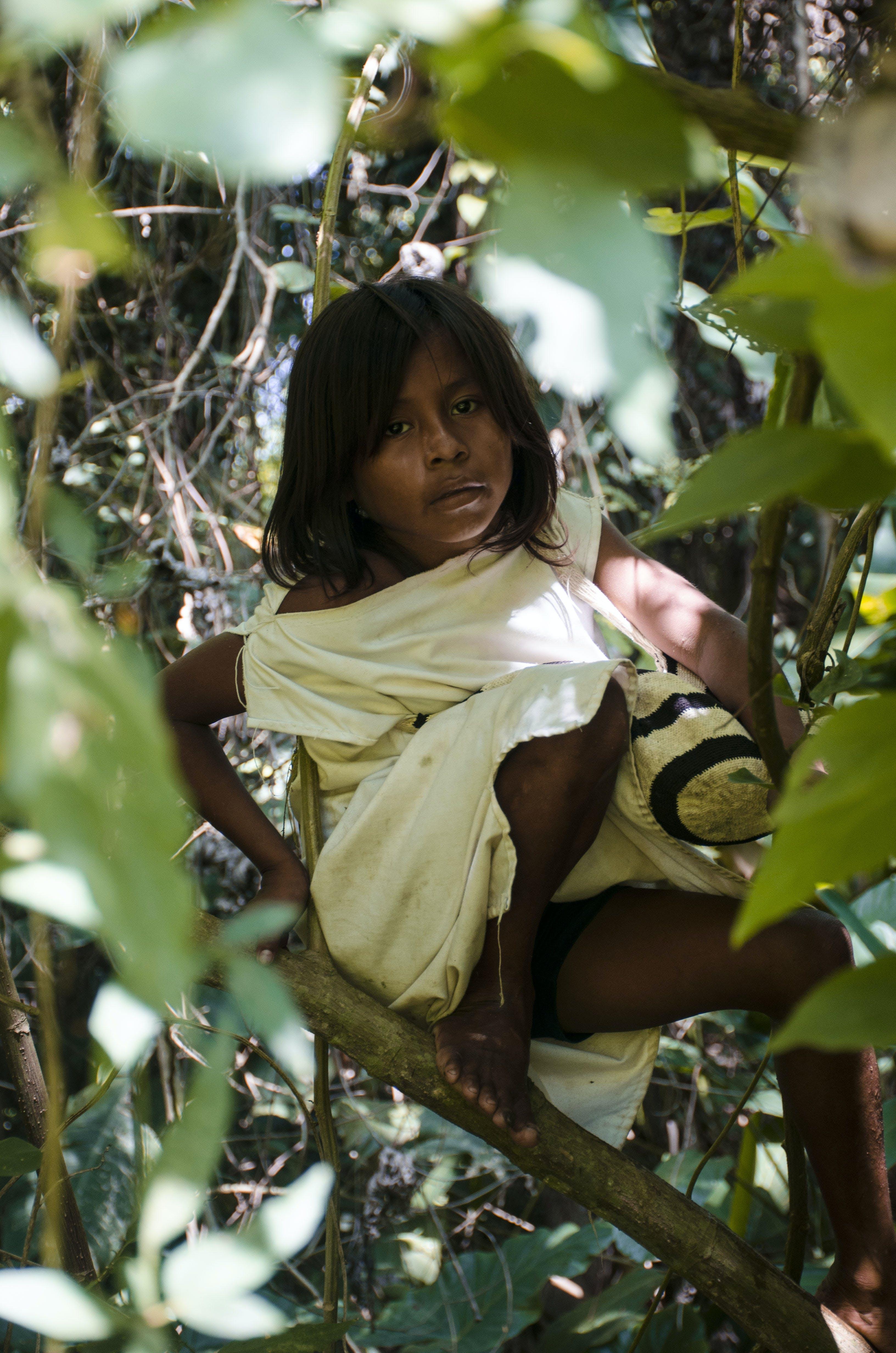 Girl in White Cap-sleeved Boat-neck Dress on Leaf Branch