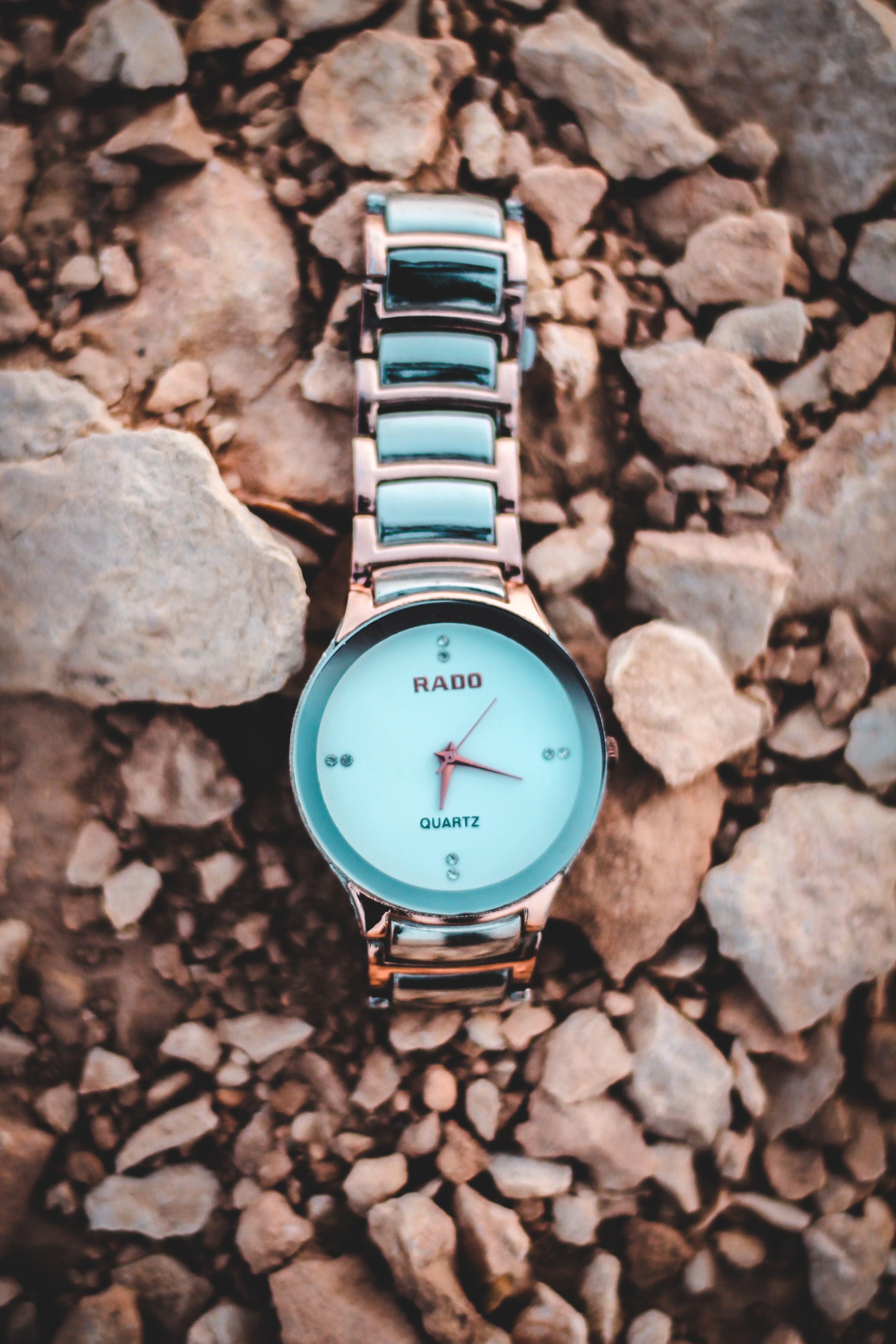 Round Gold-colored Rado Analog Watch With Link Band