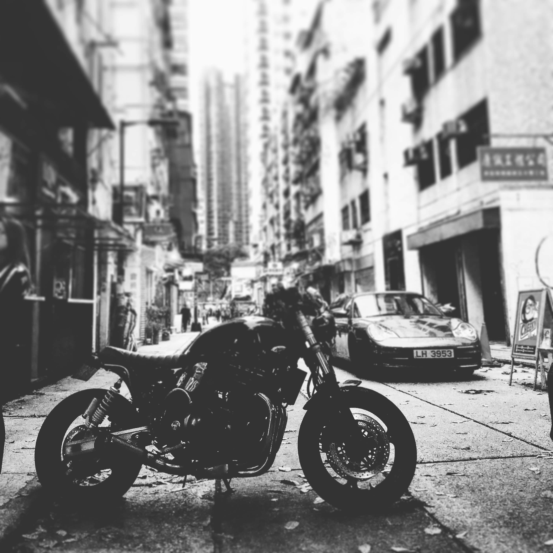 Free stock photo of #alley, #bike, #blackandwhite, #motor