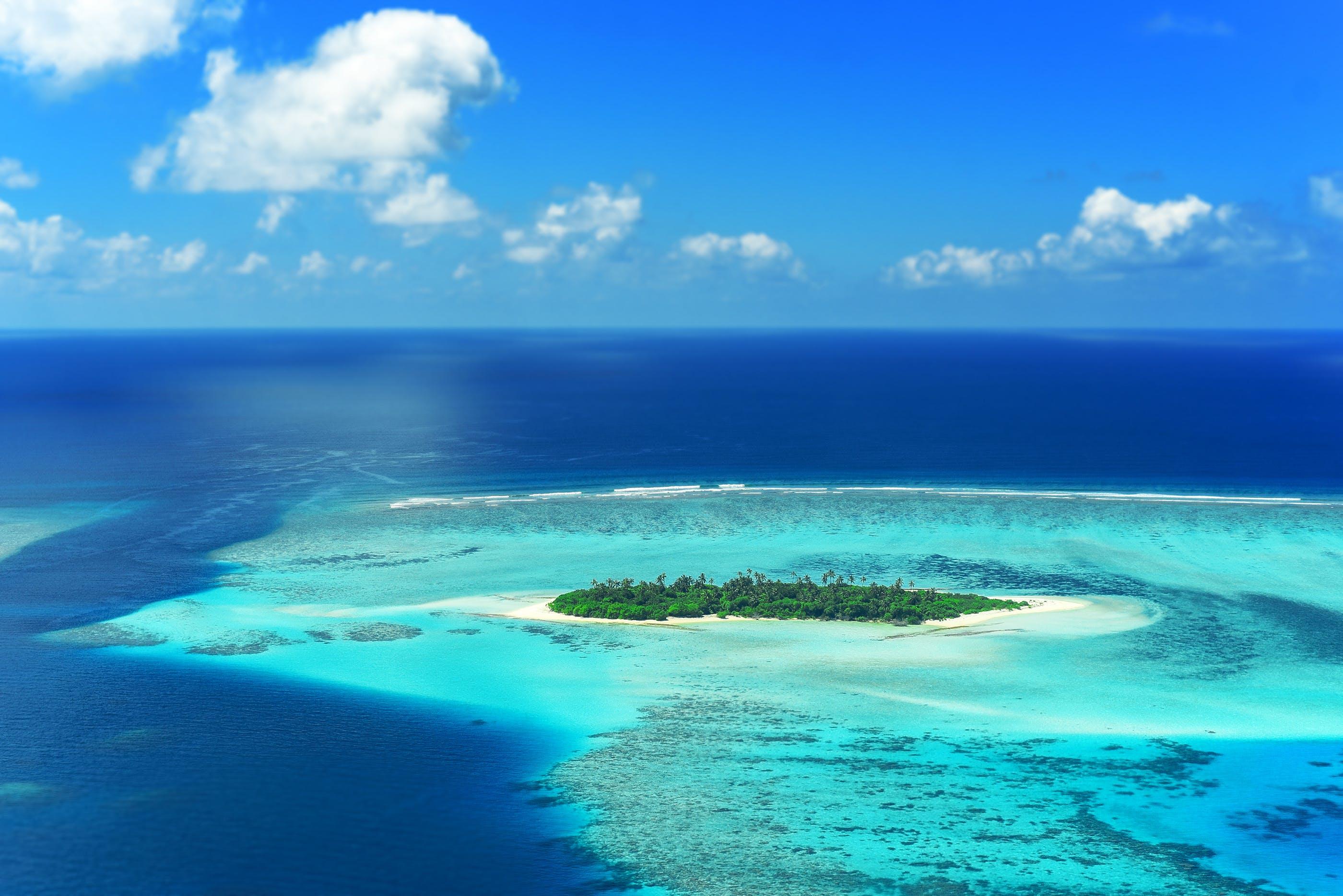 Ilmainen kuvapankkikuva tunnisteilla horisontti, lintuperspektiivi, malediivit, meri