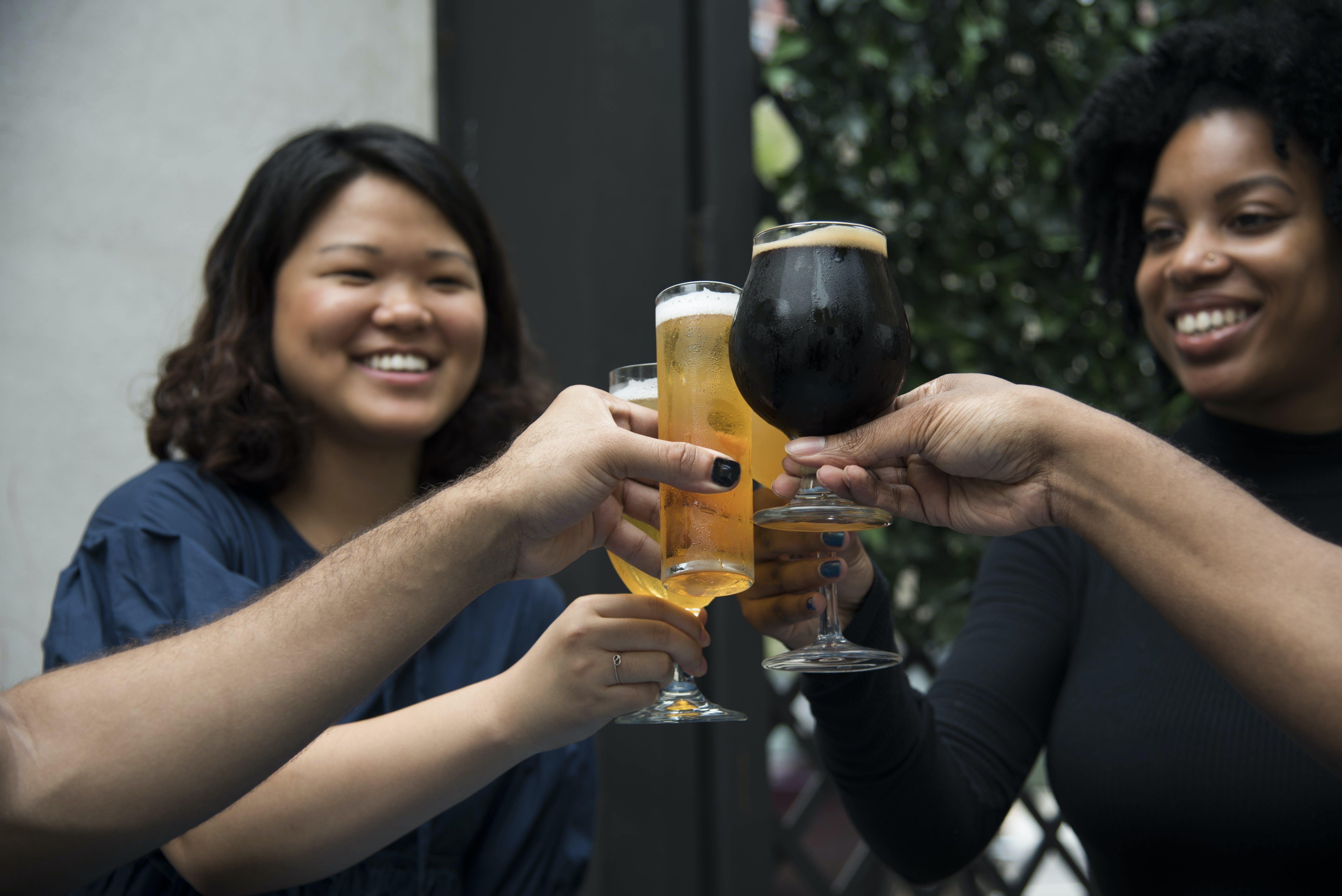 Women Holding Glasses Having Toasting