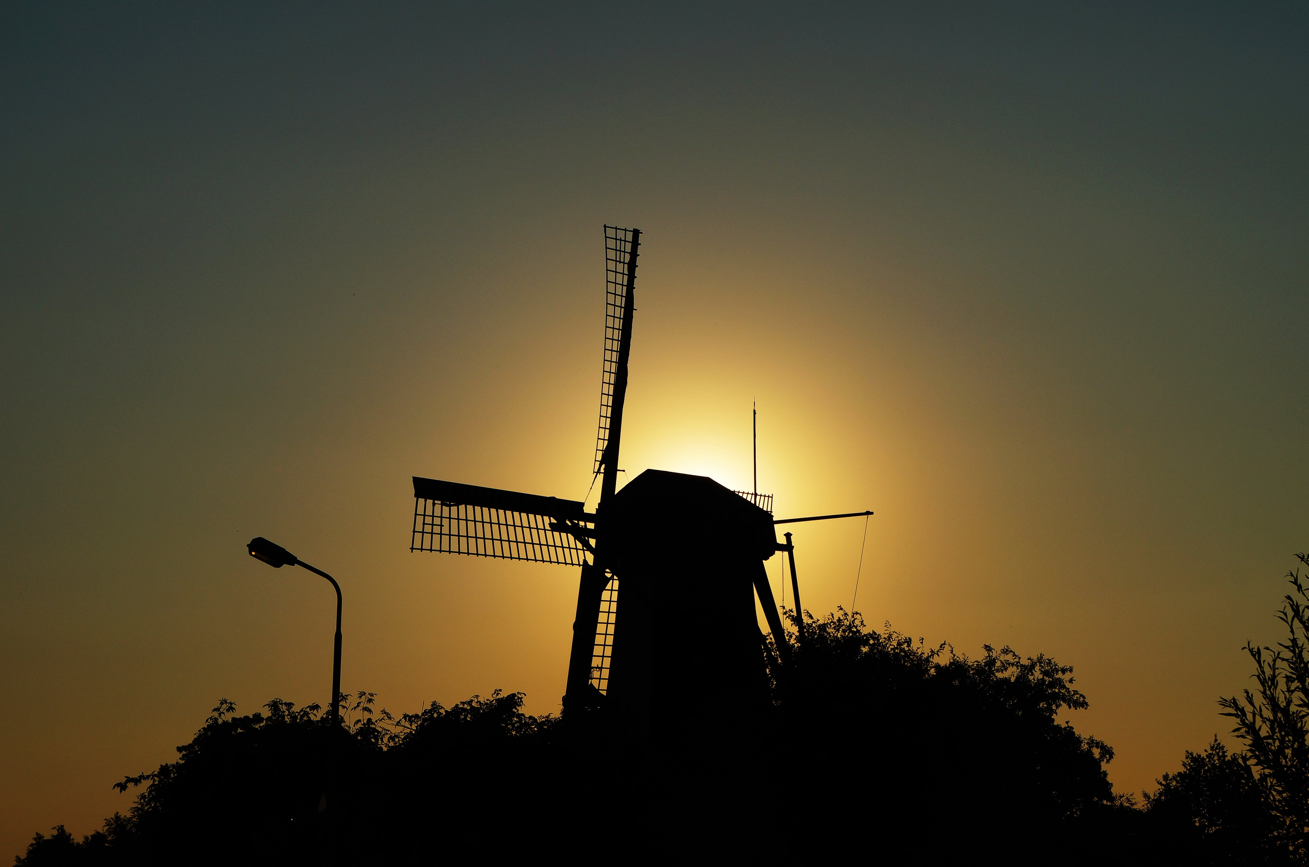 Silhouette of Windmill during Sunset