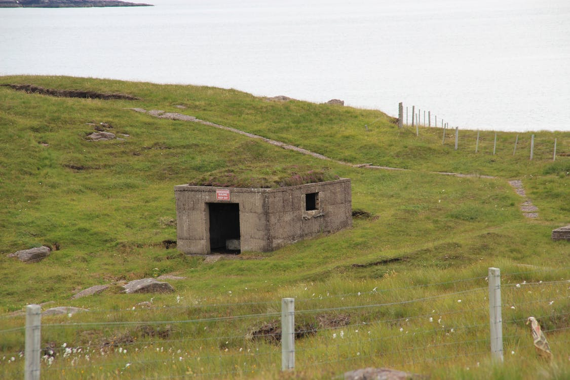 bunker, fence, grass