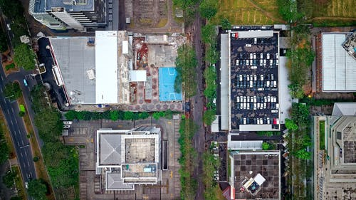 Foto d'estoc gratuïta de aparcament, arbres, arquitectura, carrers