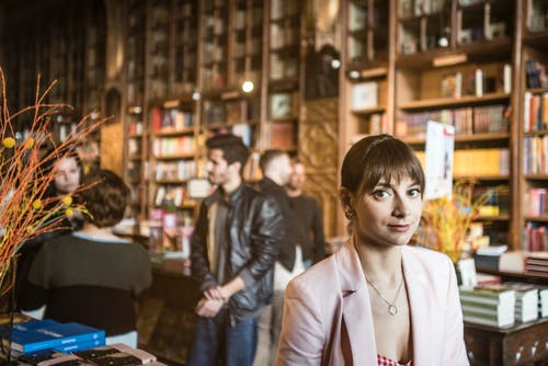 Free stock photo of bookshop, city, filming, girl
