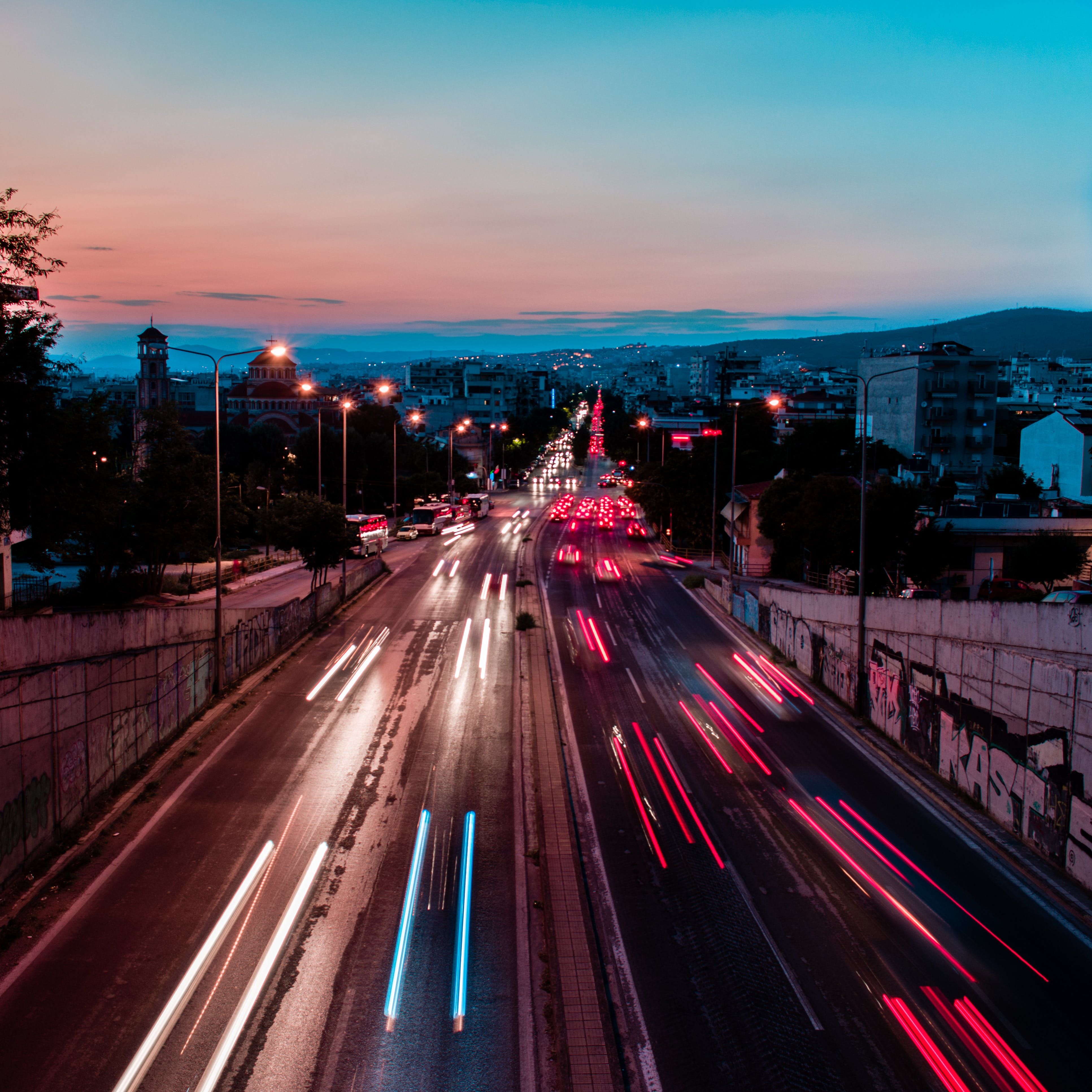 Free stock photo of cars, city, golden hour, long exposure