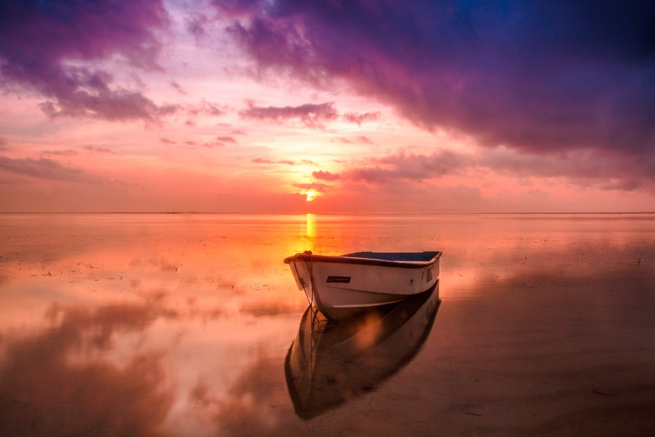 beach, boat, dawn