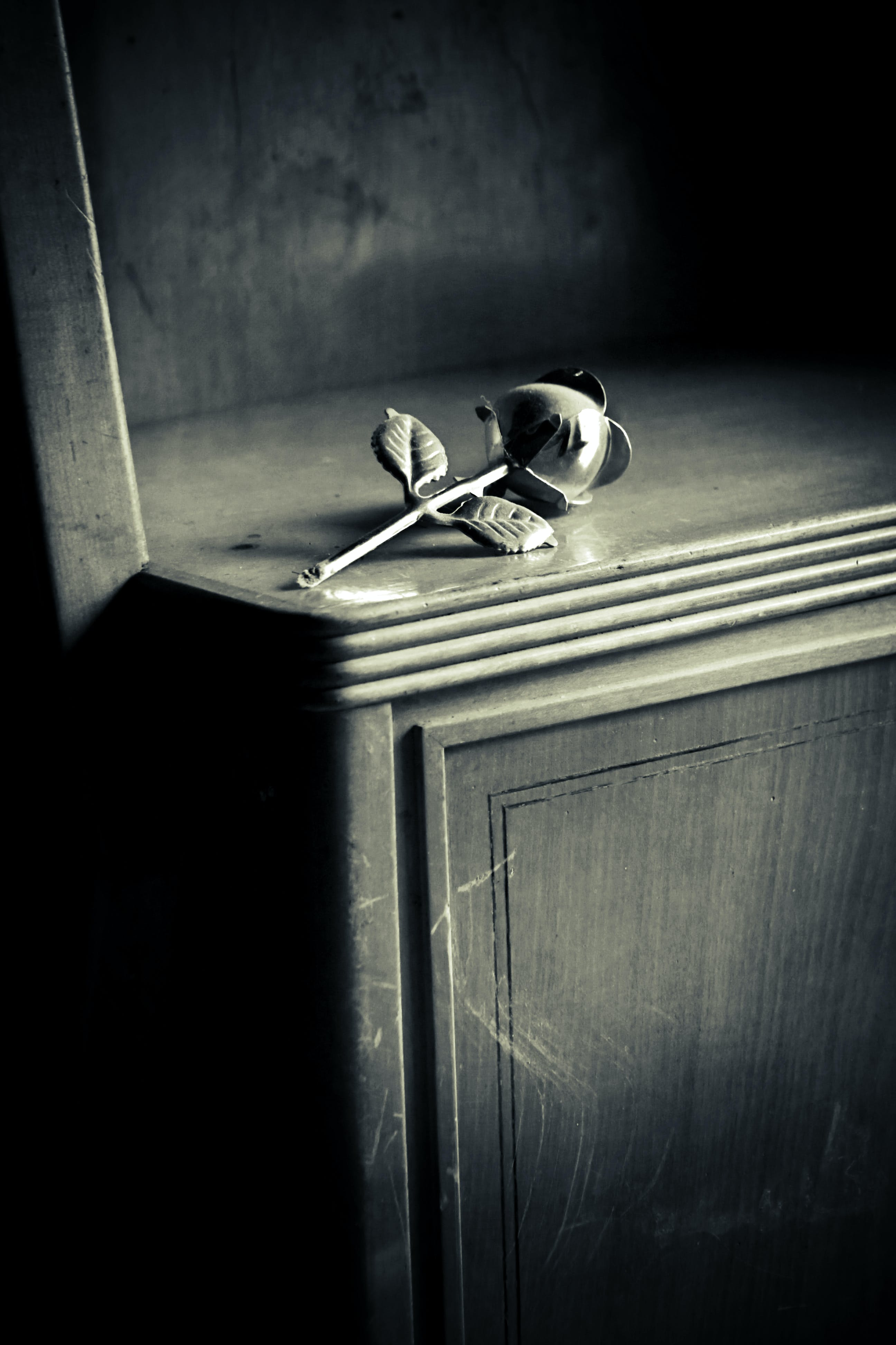 Free stock photo of black-and-white, metal, wooden, rose
