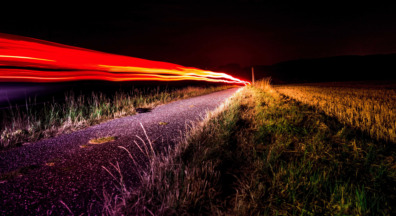 grass, light, light streaks