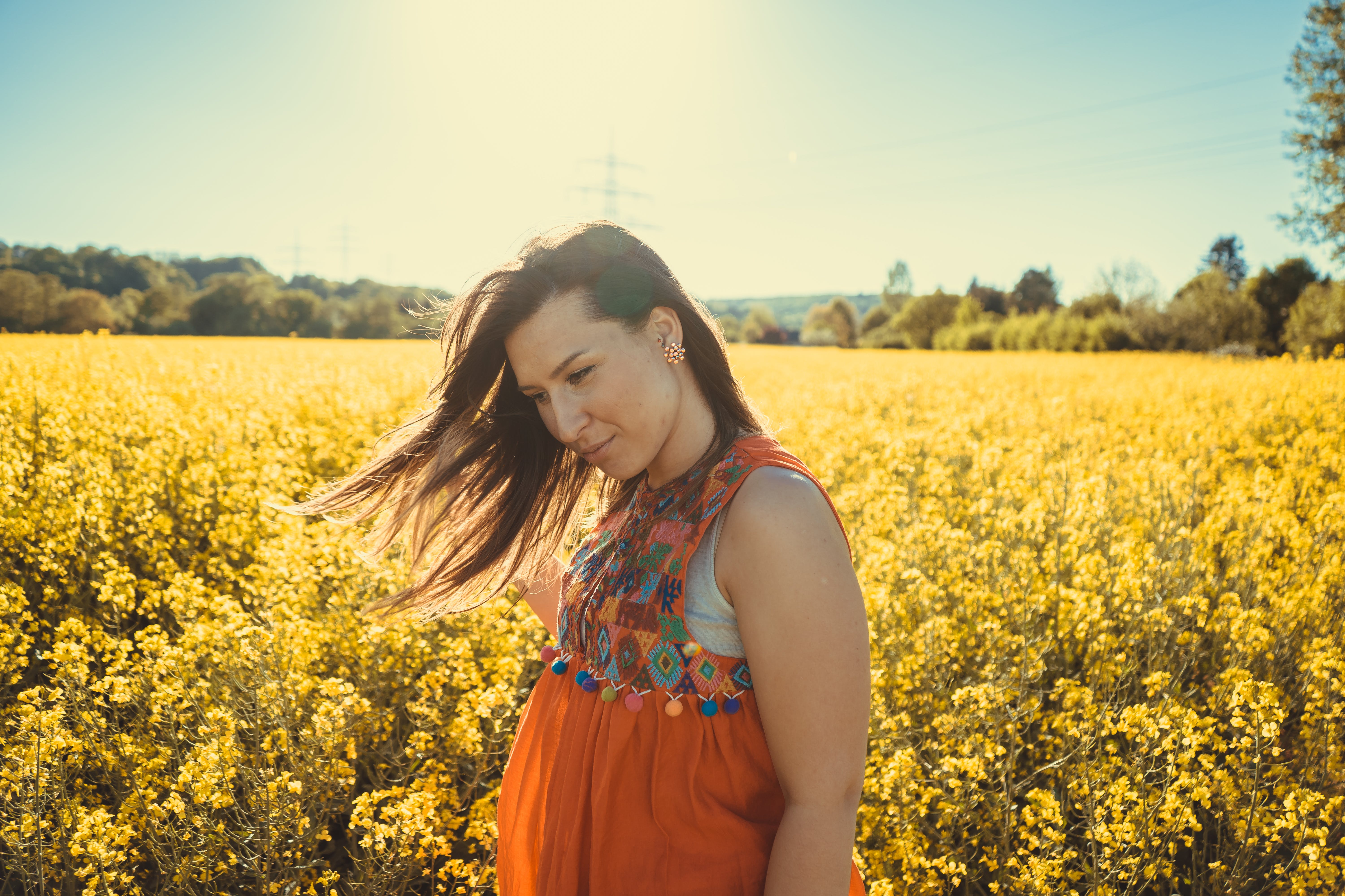 Photo of a Woman Standing by a Flower Field.