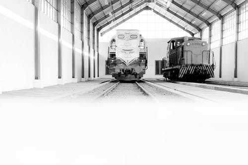 Free stock photo of black and white, bnw, museum, train