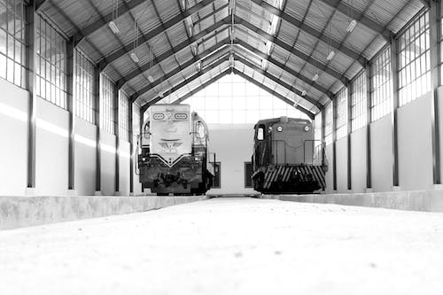 Free stock photo of black and white, museum, train, vintage