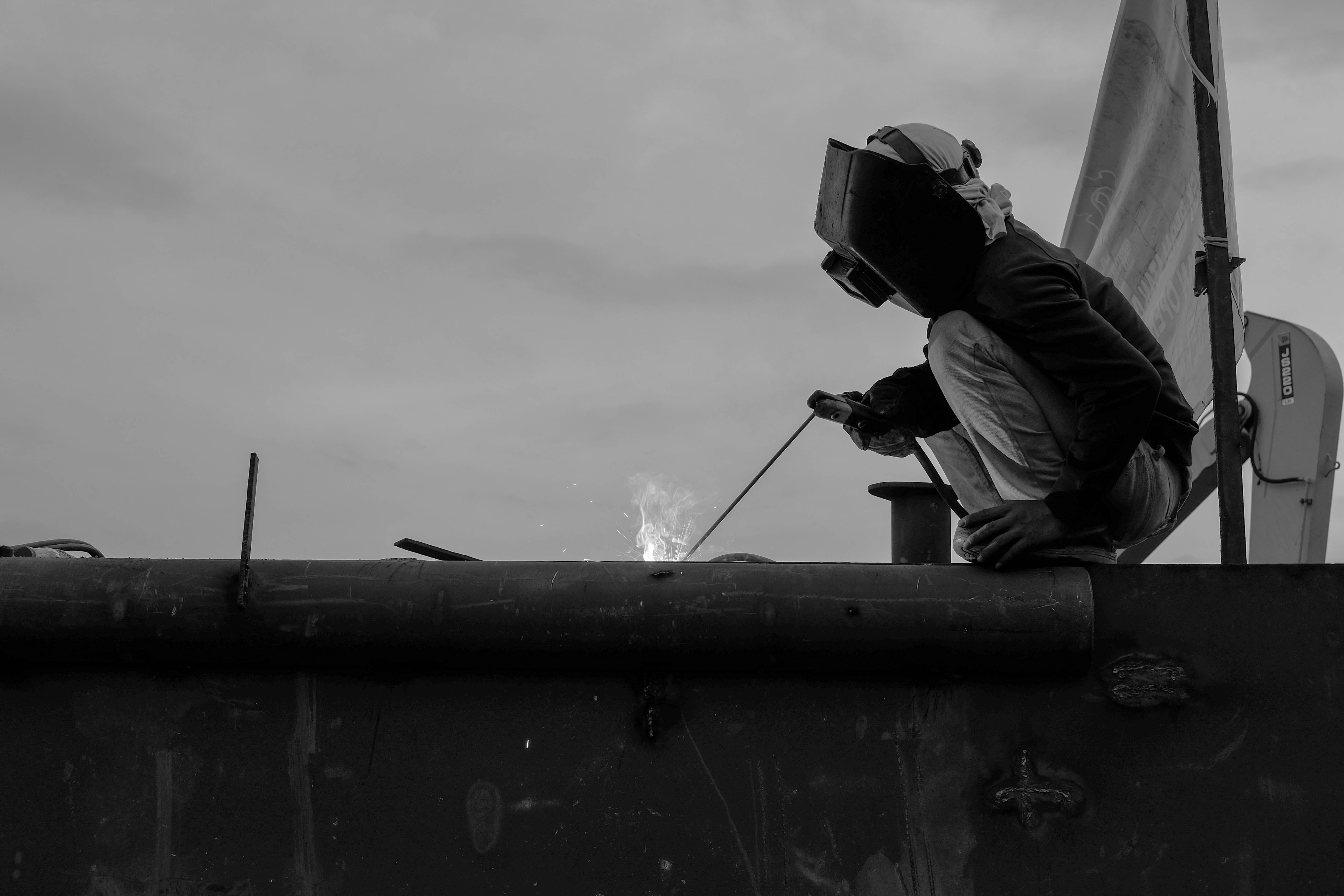 Free stock photo of work, black and white, construction worker