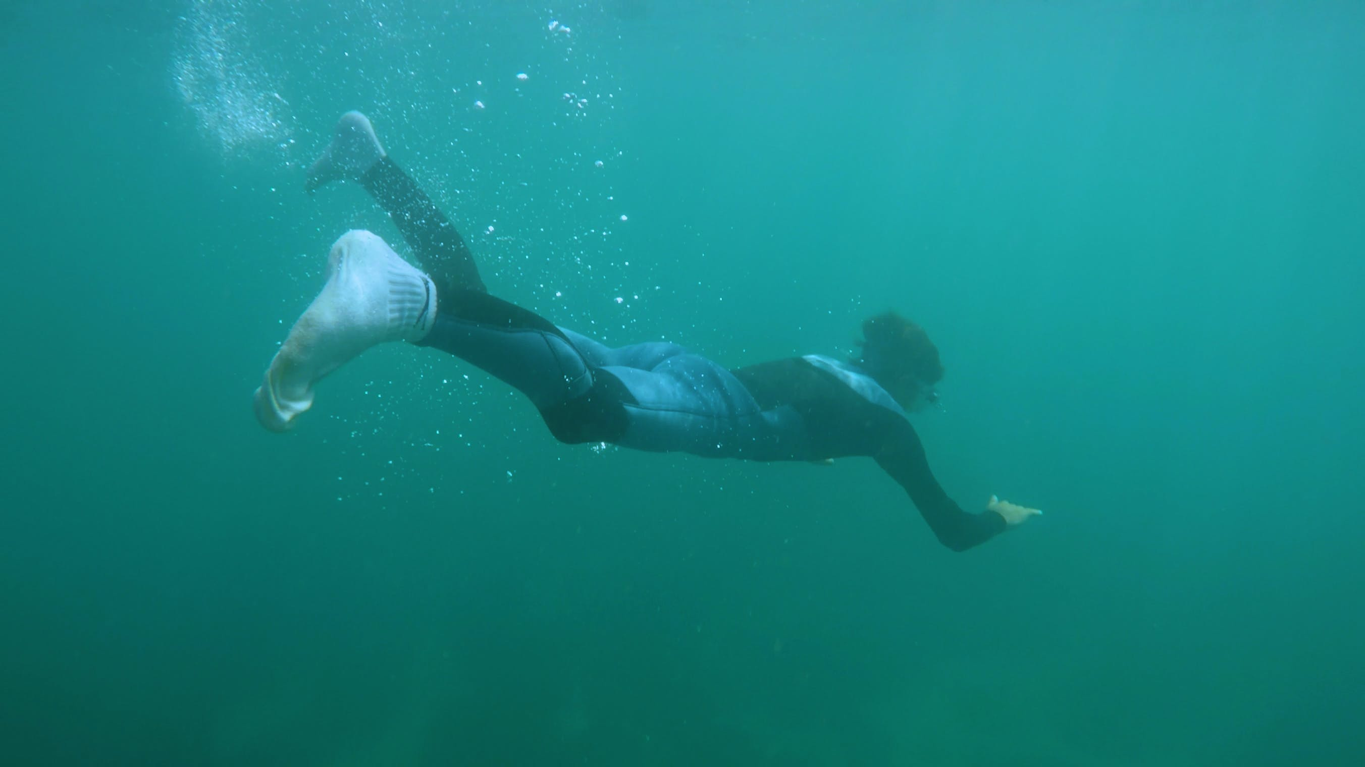 Person Wearing Black and Gray Wet Suit Under water