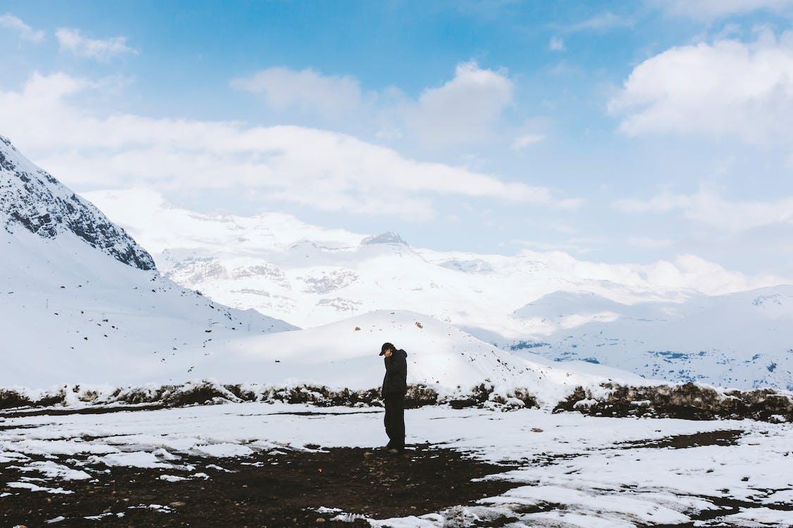 bjerge, dagslys, forkølelse