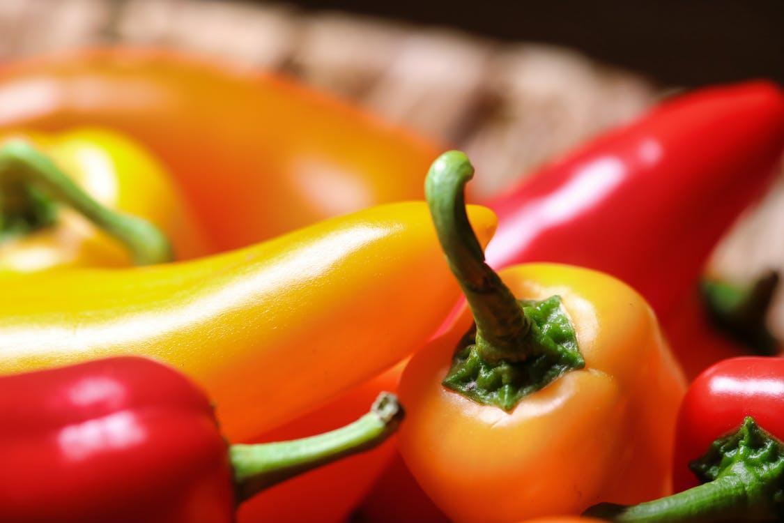 čerstvý, červený pepř, chili