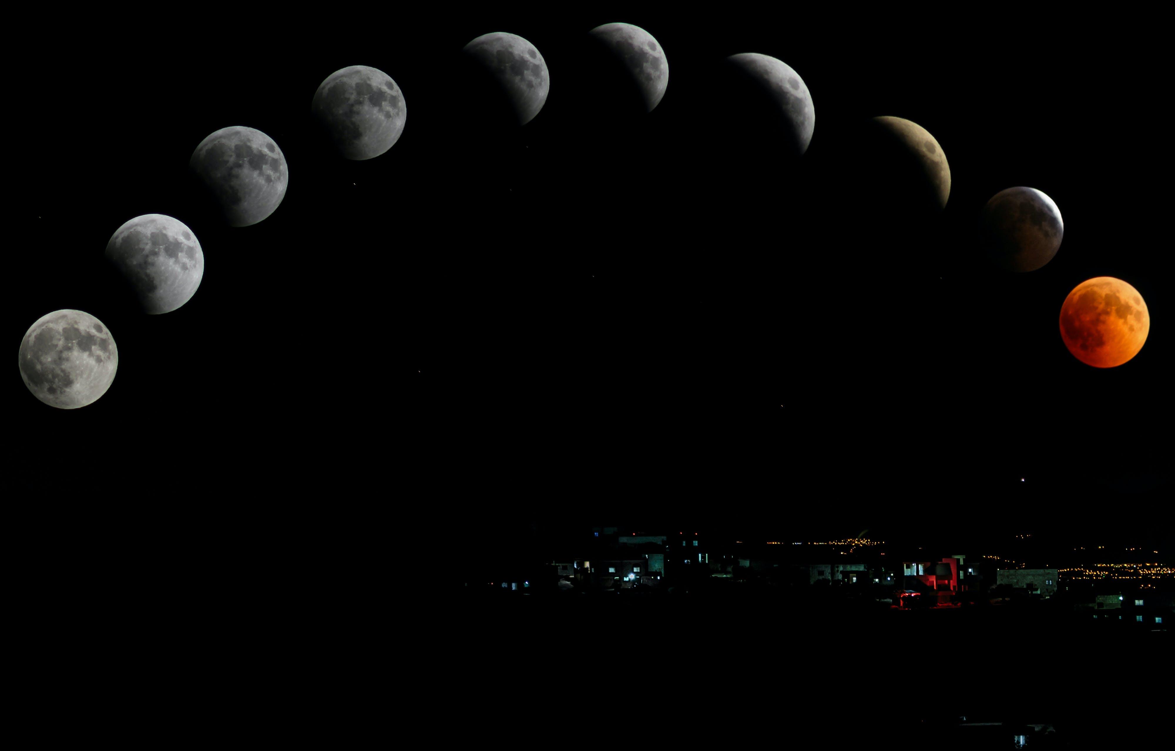 astrologi, astronomi, blodmåne