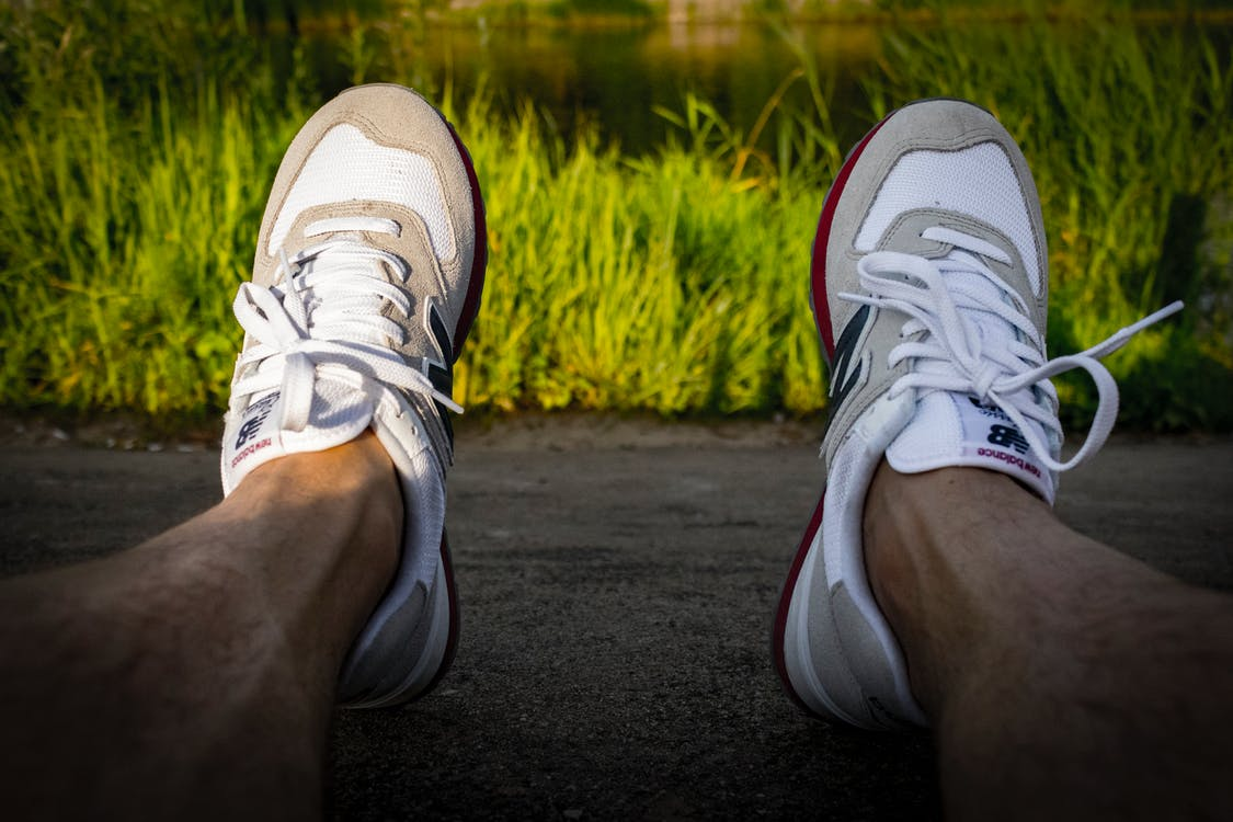 Photo of Pair of White-and-gray Runnings Shoes