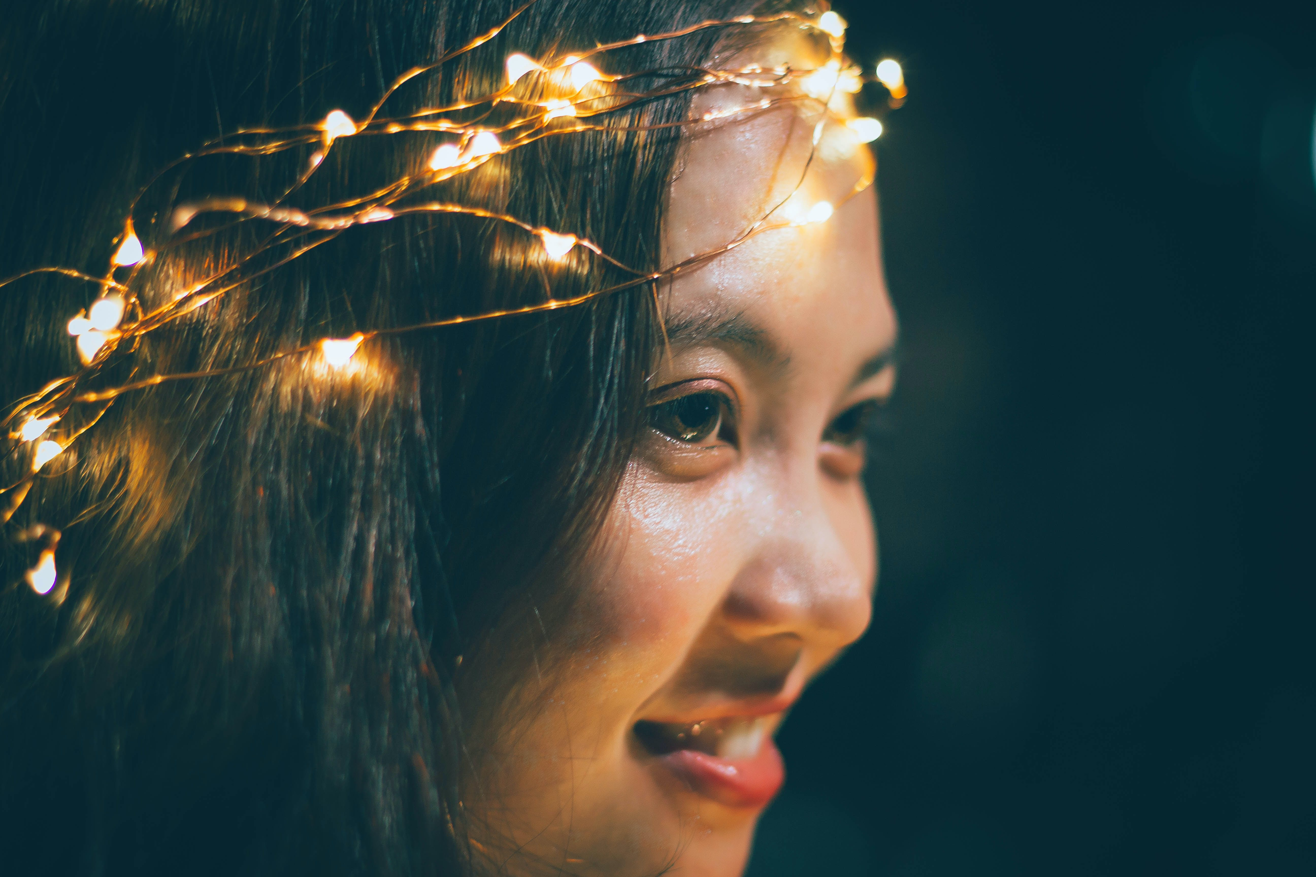 Woman Wearing String Lights