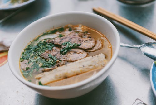 Soup With Meat on White Ceramic Bowl