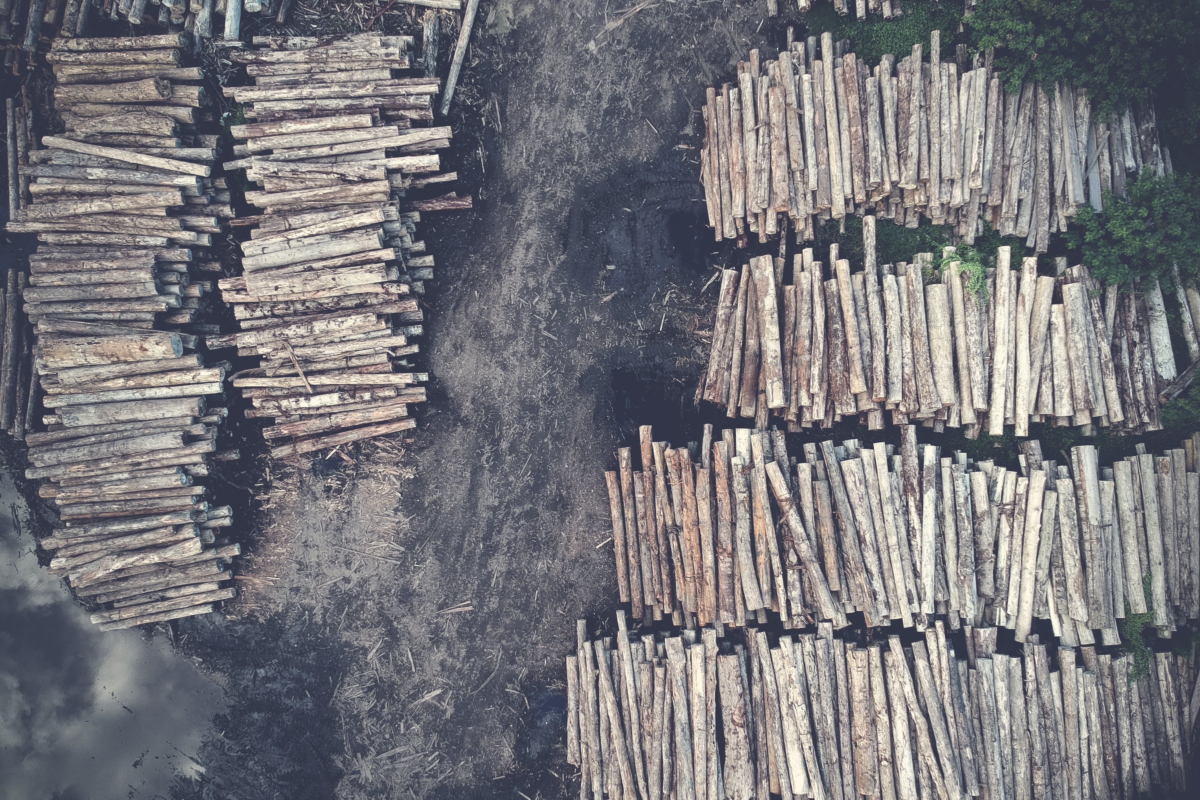 Aerial Photography of Brown Log Lot