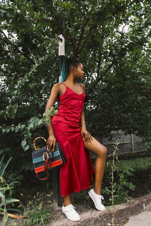 Δωρεάν στοκ φωτογραφιών με γυναίκα, δέντρο, ημέρα, κόκκινο