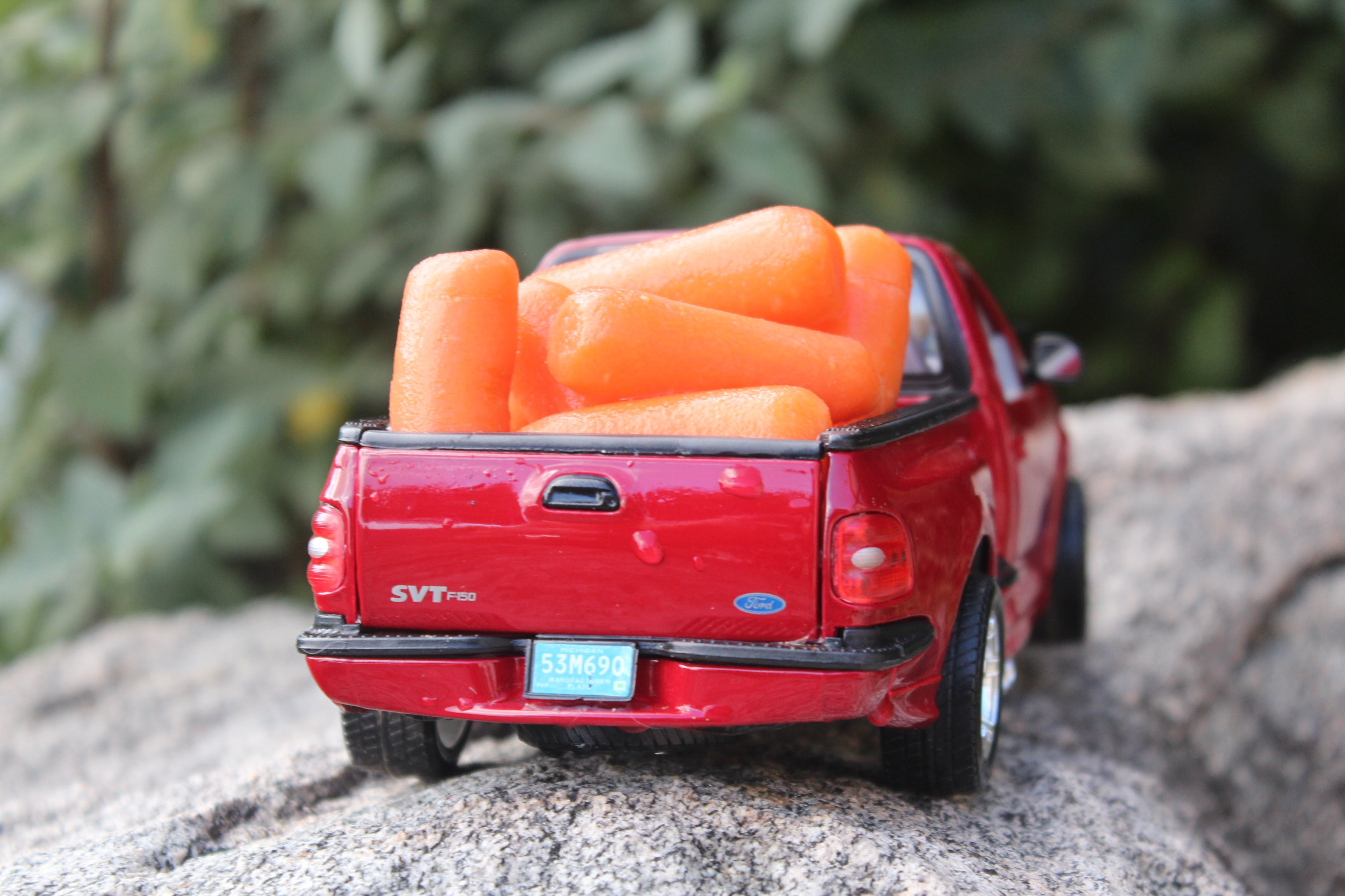 Free stock photo of Baby carrots, carrots, red pick up, red truck