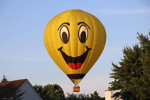 Yellow Hot Air Balloon on Air